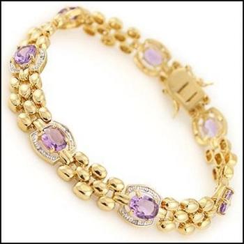 12.18 CT Amethyst & Diamond Designer Bracelet
