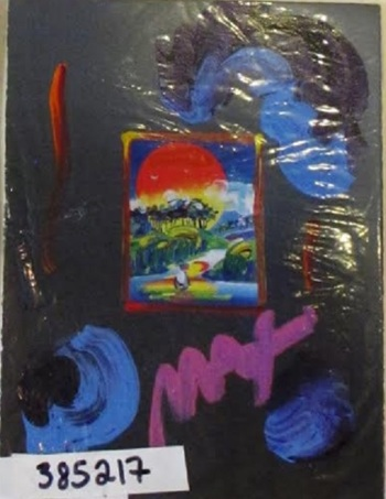 """Peter Max   """"Without Borders"""" Hand Signed Original Mixed Media $5375"""