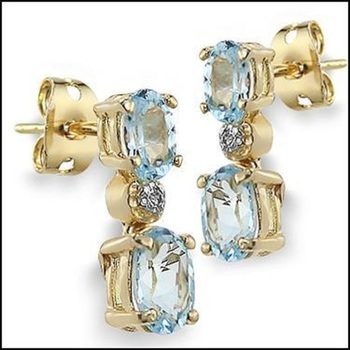 3.37 CT Blue Topaz & Diamond Designer Earrings List Price $680!
