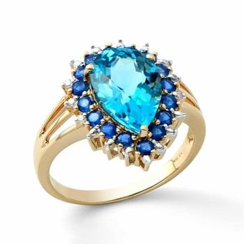 4.54 Cts Certified Swiss Blue Topaz, Sapphire & Diamond Designer Ring $4,325