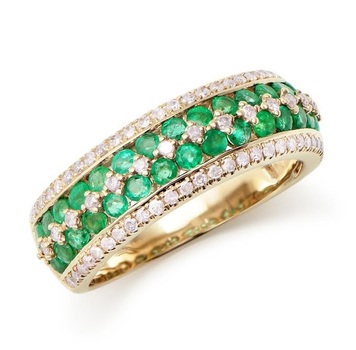 1.37 Cts Certified Emerald & Diamond Designer 14K Gold Ring MSRP $5,984