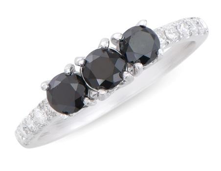 1.24 Cts Certified Black Diamond 14K Designer Gold Ring