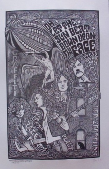 LED ZEPPELIN GRAFFITI Psychedelic Hand Signed Posterography Letterpress Fine Art List Price $485