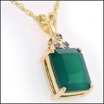 4.75 CT Green Agate & Diamond Designer Necklace