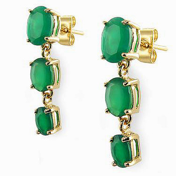 3.35 CT Green Agate Past Present Future Designer Earrings MSRP $660