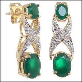 3.42 CT Green Agate & Diamond Designer Earrings MSRP $590