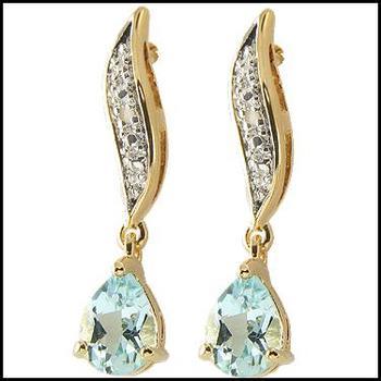 2.82 CT Blue Topaz & Diamond Designer Earrings
