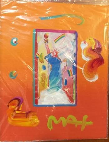 "Peter Max ""Statue of Liberty"" Hand Signed Original Mixed Media $5575"