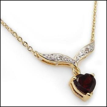 2.95 CT Garnet Diamond Heart Shape Designer Necklace List Price $720!