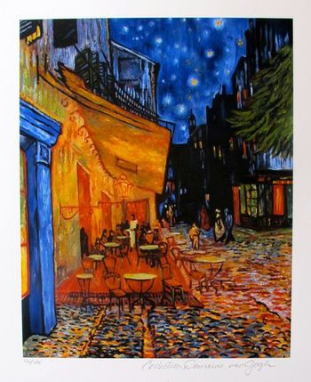 "VINCENT VAN GOGH ""THE TERRACE CAFE"" Estate Signed Giclee List Price $625"