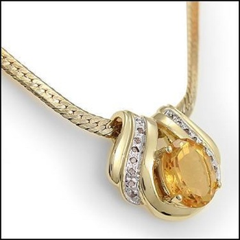 7.79 CT Citrine & Diamond Designer Necklace List Price $965!