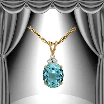 3.14 CT Swiss Blue Topaz & Diamond Necklace