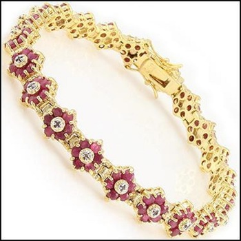 6.71 Ct Ruby & Diamond 18KGP Designer Bracelet