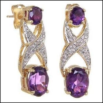 3.42 CT Amethyst & Diamond Designer Earrings List Price $685!