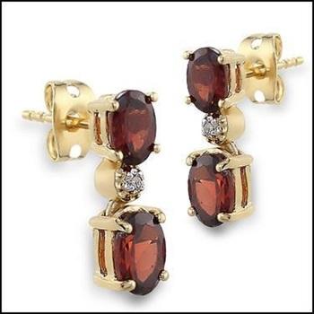 2.51 CT Garnet & Diamond 18KGP Designer Earrings