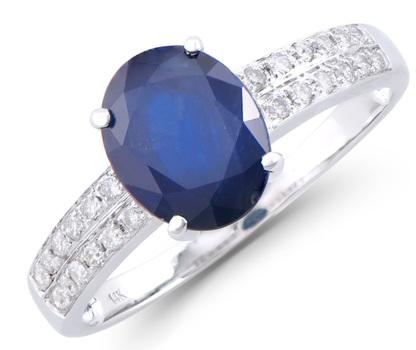 2.12 Ct Certified Blue Sapphire & Diamond 14K Designer Ring $12,150!!!