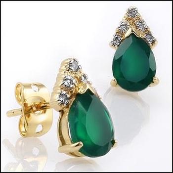 3.34 Cts Green Agate & Diamond Designer Earrings