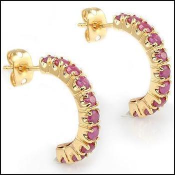 1.38 Cts Rubies Designer Earrings