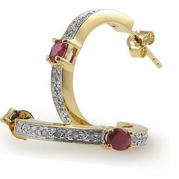 2.12 CT Ruby & Diamond Designer Earrings List Price $545!