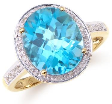 5.72 Cts Certified Swiss Blue Topaz & Diamond 14K Designer Gold Ring