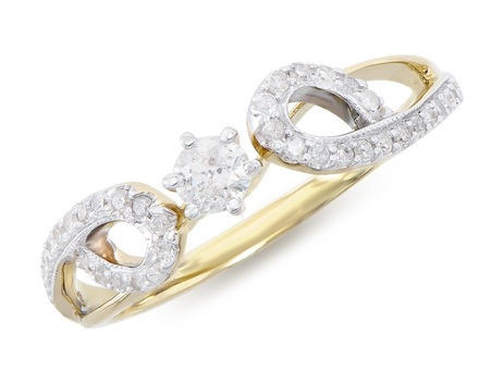 0.43 Cts Diamond 14K Designer Gold Ring