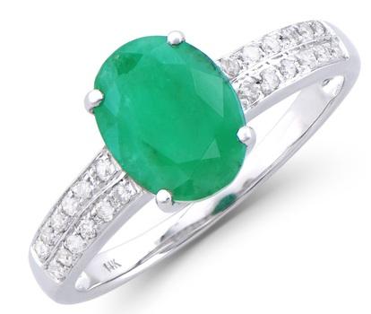 2.02 Cts Green Emerald & Diamond 14K Designer Gold Ring