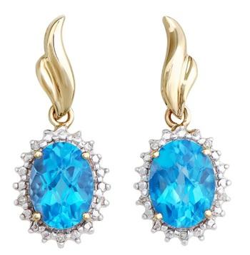 3.32 Cts Certified Swiss Blue Topaz & Diamond 14K Gold Earrings MSRP $4,251