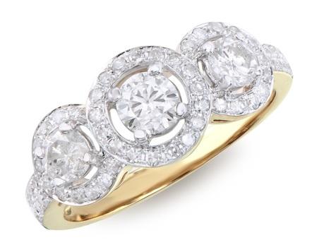 1.29 Cts Diamond 14K Designer Gold Ring