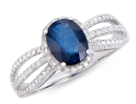 1.78 Cts Sapphire & Diamond 14K Designer Gold Ring