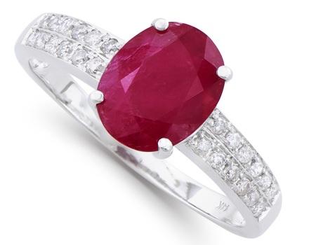 2.13 Cts Ruby & Diamond 14K Designer Gold Ring