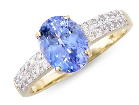 2.56 Cts Tanzanite & Diamond 14K Designer Gold Ring