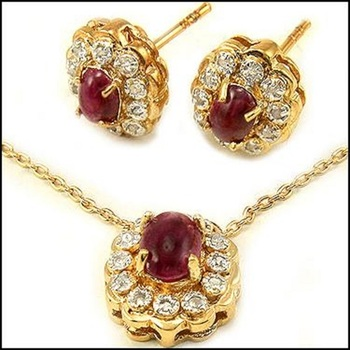 3.84 CT Ruby & Diamond 18KGP Designer Set