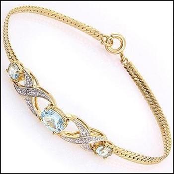 3.88 CT Blue Topaz & Diamond 18KGP Designer Bracelet