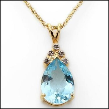 4.34 CT Swiss Blue Topaz & Diamond Necklace