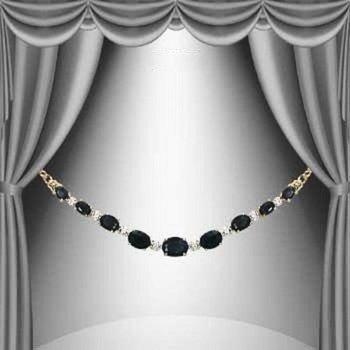 8.05 Cts Black Sapphire & Diamond 18KGP Designer Necklace