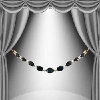 11.37 CT Black Sapphire & Diamond Designer Necklace