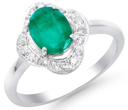 1.52 Cts Emerald & Diamond 14K Designer Gold Ring