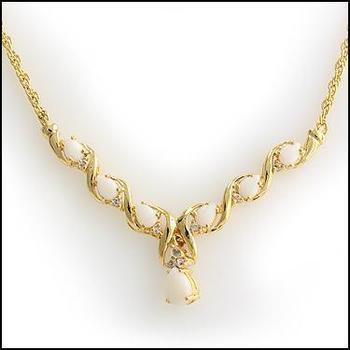 4.71 CT Opal & White Topaz Designer Necklace List Price $735!