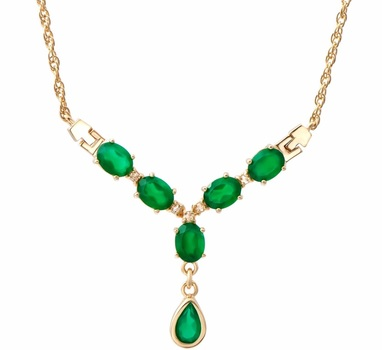 7.25 Cts Green Agate & White Topaz 18KGP Necklace