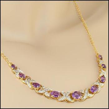 5.19 Cts Amethyst & Diamond 18KGP Designer Necklace MSRP $1,115