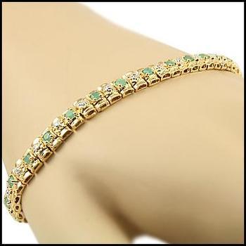 2.51 Cts Emerald & Diamond 18KGP Designer Bracelet