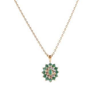 1.37 Cts Emerald & Diamond 18KGP Designer Necklace