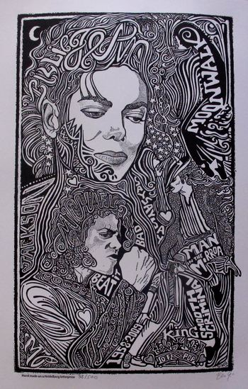 MICHAEL JACKSON King of Pop Hand Signed Posterography Letterpress Fine Art List Price $540