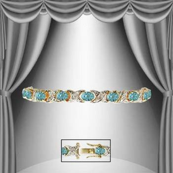 9.12 CT Swiss Blue Topaz & Diamond 18KGP Designer Bracelet