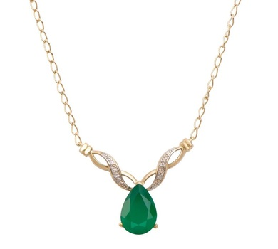 3.66 Cts Green Agate & Diamond 18KGP Designer Necklace
