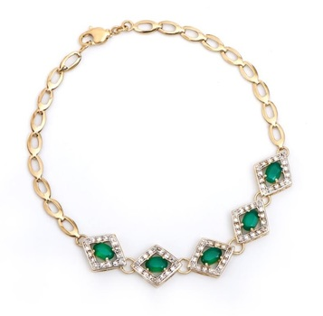 2.20 Cts Green Agate & Diamond 18KGP Designer Bracelet