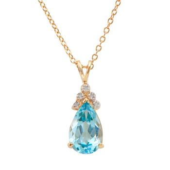 5.09 CT Swiss Blue Topaz & Diamond 18KGP Designer Necklace