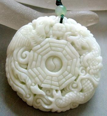Jade Dragon Phoenix 8-Diagram Amulet Pendant