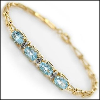 4.29 Ct Blue Topaz & Diamond Designer Bracelet List Price $690!