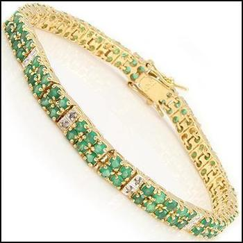 9.24 CT Green Agate & Diamond 18KGP Designer Bracelet
